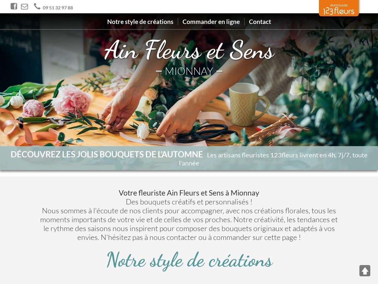 Site fleuriste Ain Fleurs et Sens - 123fleurs