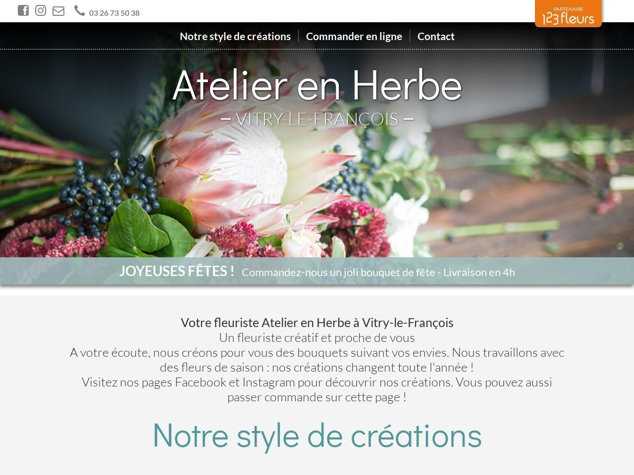 Site fleuriste Atelier en Herbe - 123fleurs