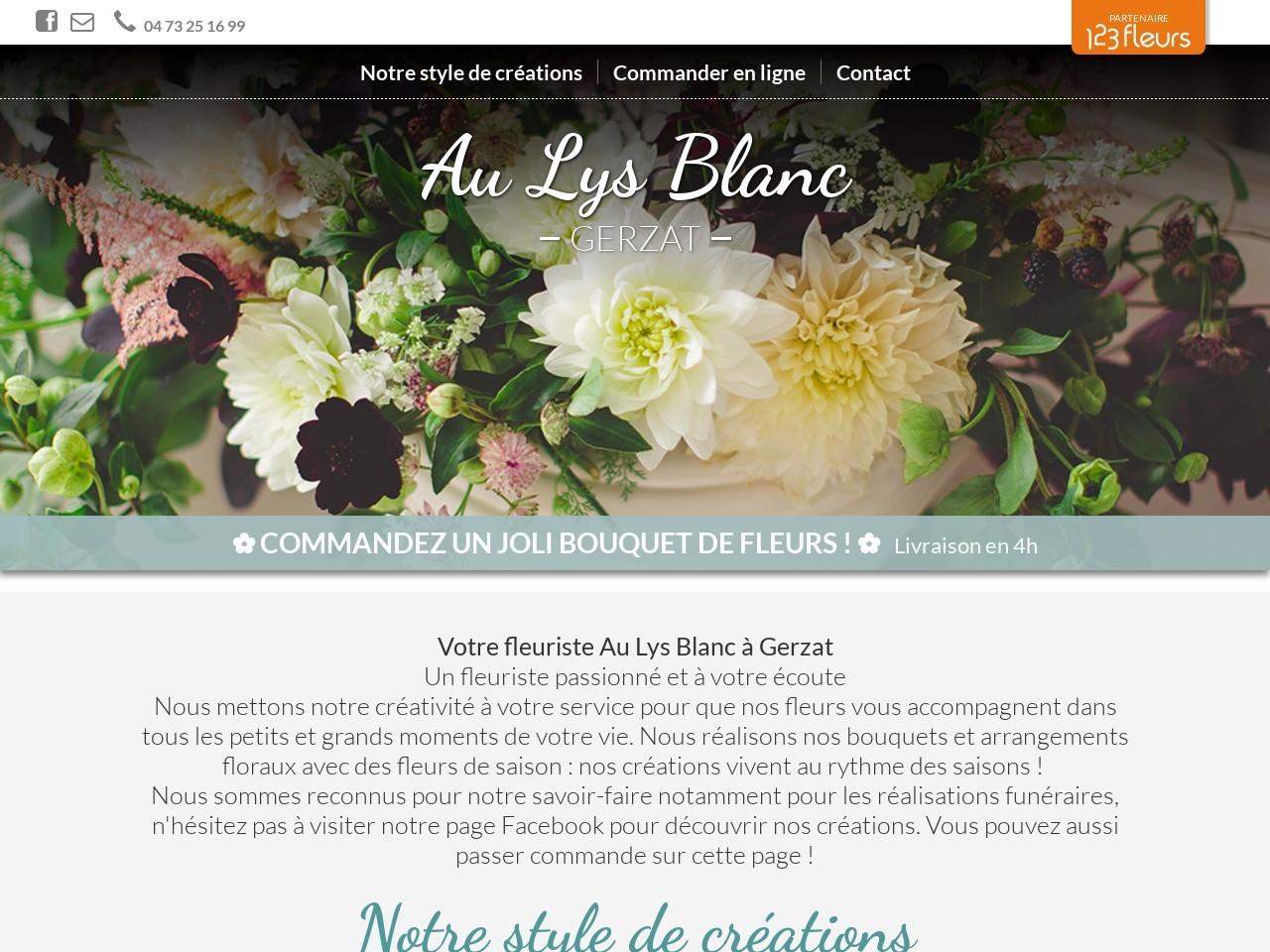 Site fleuriste Au Lys Blanc - 123fleurs