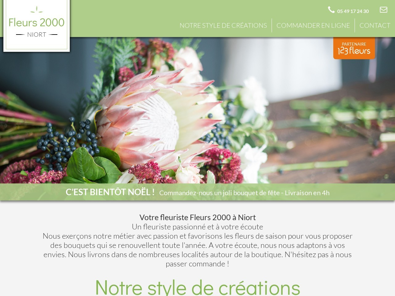 Site fleuriste Fleurs 2000 - 123fleurs