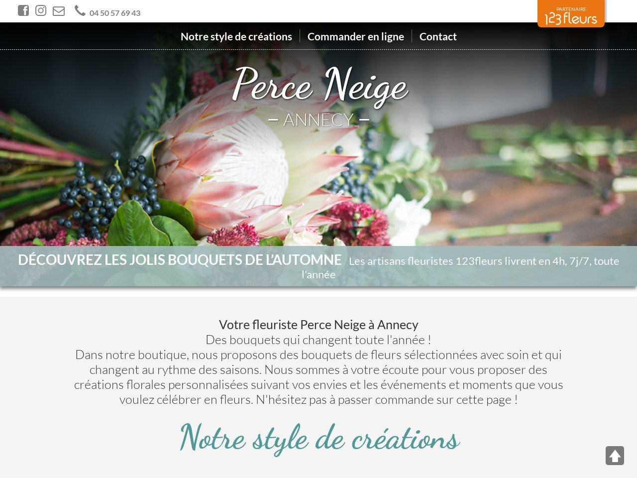 Site fleuriste Perce Neige - 123fleurs